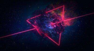 Image Espace abstrait, comète en feu, flash, laser à travers la pierre, couleurs vives