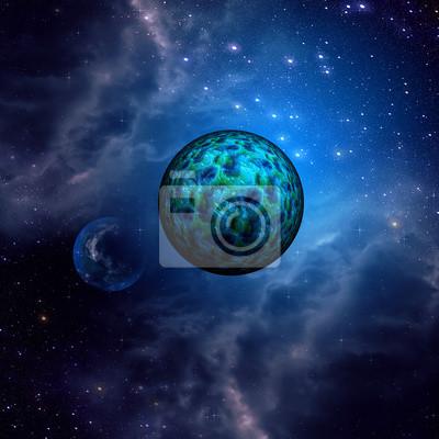 Espace bleu ciel et des planètes