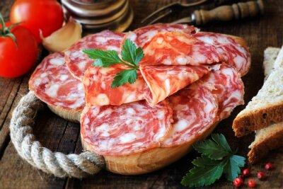 Image Espagnol, tapas, tranché, salame, rustique, bois, découpage, planche, pain, tomates