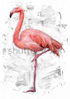 Image esquisse d'oiseau flamant rose / peinture à l'huile