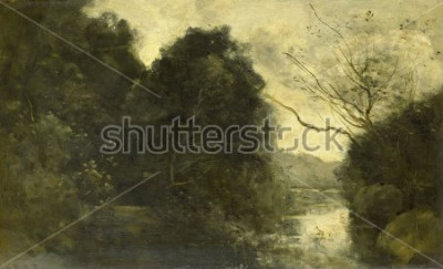 Image Étang dans les bois, de Camille Corot, 1840-1875, peinture française, huile sur panneau.