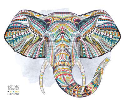 Image Ethnique, modèle, tête, éléphant, grange, fond, africain, indien, totem, tatouage, conception Utilisation pour l'impression, affiches, t-shirts.