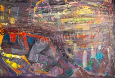 Image Ethnographie, M.Sh. Khaziev. Artiste honoré du Tatarstan. L'image peinte à l'huile. Homme endormi
