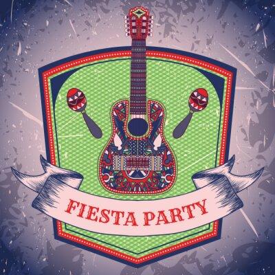 Image Étiqueter mexicaine Party Fiesta avec maracas et guitare mexicain .Hand illustration tirée affiche de vecteur de fond grunge. Brochure ou carte de voeux modèle