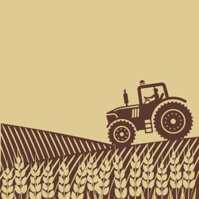 Image Étiquette ovale avec le paysage. Tracteur, champ