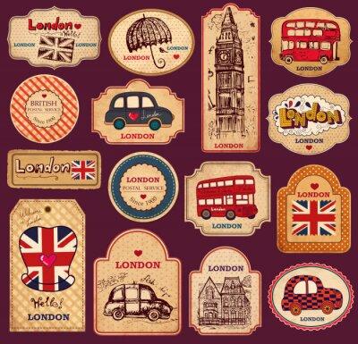 Étiquettes vintages et des étiquettes avec des symboles de Londres