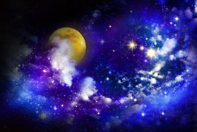 Image Étoiles et la pleine lune dans le ciel nocturne.