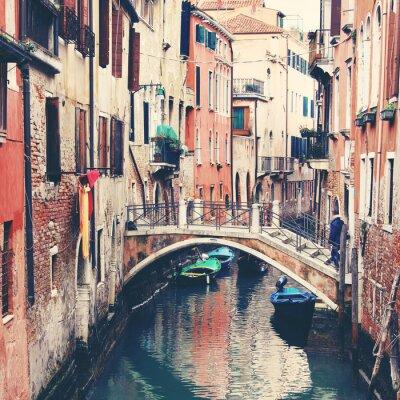 Image Étroit, canal, pont, Venise, Italie