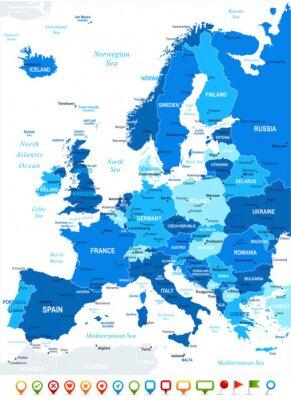 Image Europe map - très détaillées illustration vectorielle. Image contient contours terrestres, les noms de pays et de la terre, les noms de ville, les noms d'objets de l'eau, des icônes de navigation.