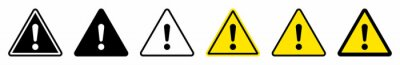 Image Exclamation mark of warning attention icon. Triangular warning symbols with Exclamation mark. Caution alarm set, danger sign collection, attention vector icon. Vector illustration.