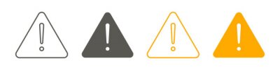 Image Exclamation of warning attention icon, warning signs set. Vector illustration.