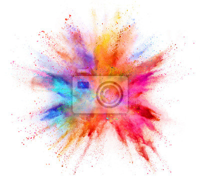 Image Explosion de poudre colorée isolée sur fond blanc