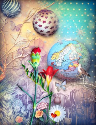 Image Fairytales, fond, fleld, coloré, fleurs