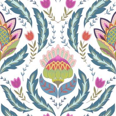 Image Fantaisie, fleurs, seamless, modèle Ornement classique sur fond blanc