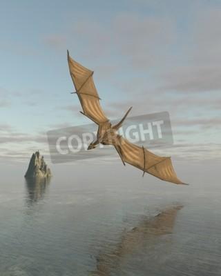 Image Fantaisie Illustration de a dragon voler bas sur a calme océan dans lumière
