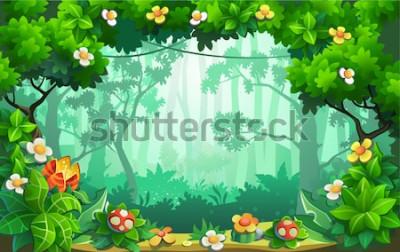 Image Fantastique forêt de fleurs, jungle fabuleuse, tropiques. Fond de vecteur.