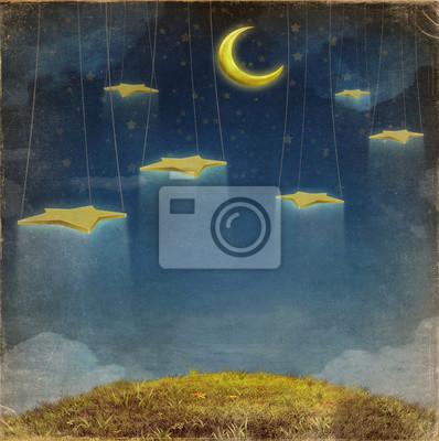 Fantastique, lune, étoiles, corde, nuit, ciel