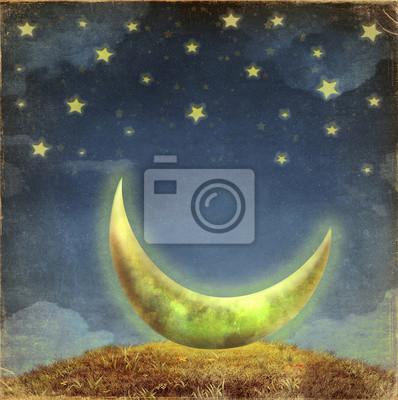 Fantastique, lune, étoiles, nuit, ciel