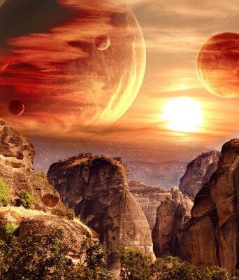 Image Fantastique paysage avec planète, montagnes, coucher de soleil