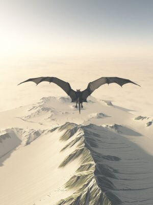 Image Fantasy illustration of a grey dragon flying over a snow covered mountain range, 3d digitally rendered illustration