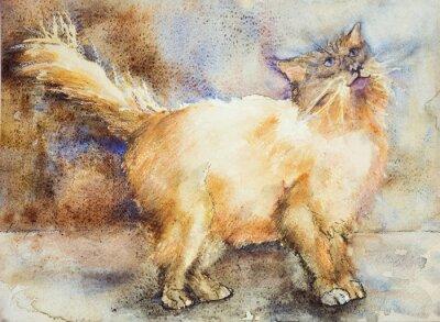 Image Fasciné regardant le chat à poils longs. La technique dabbing près des bords donne un effet de foyer doux en raison de la rugosité de surface altérée du papier.