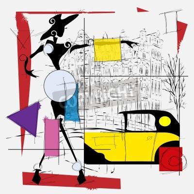 Image fashion girl cubisme illustration moderne