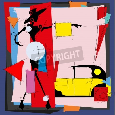 Image Fashion illustration in the style of cubism