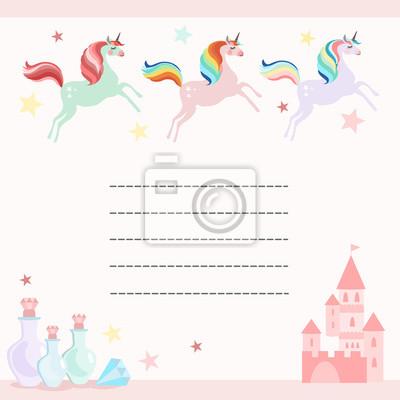Fee Anniversaire Fete Salutation Carte Invitation Licorne Peintures Murales Tableaux Licorne Conte De Fees Inviter Myloview Fr