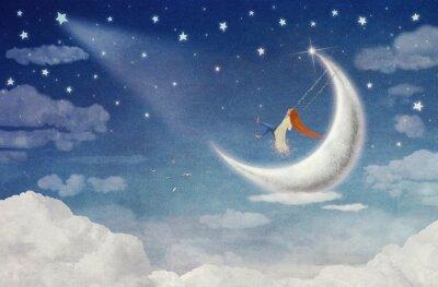 Image Fée, équitation, oscillation, lune, ciel