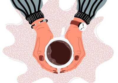 Image Female hands holding coffee cup flat vector illustration
