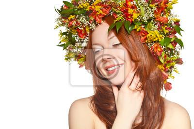 femme aux cheveux rouges de près portrait de visage