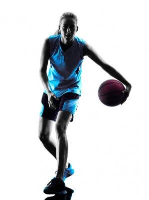Image Femme, basket-ball, joueur, silhouette