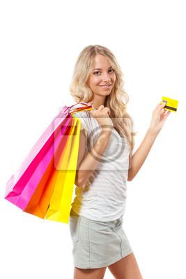 femme blonde carte et sacs exploitation