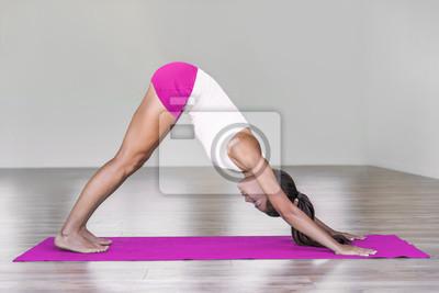 Femme de yoga dans une pose de chien en face du bas, Adho mukha svanasana pose. Entraînement d'exercices de yoga en forme de yoga rose. Mode de vie sain et sain.