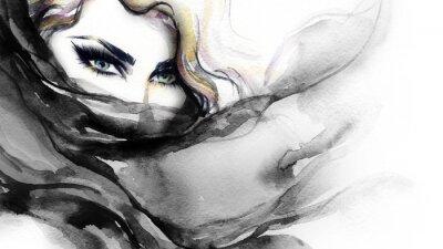 Image Femme face. Illustration de mode. La peinture à l'aquarelle