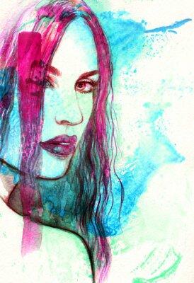 Image Femme face. Résumé, aquarelle, Illustration