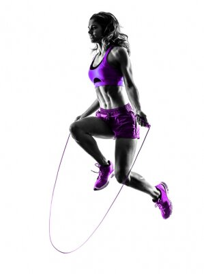 Image Femme, Fitness, sauter, corde, exercices, silhouette