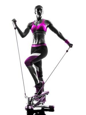 Image Femme, Fitness, stepper, silhouette