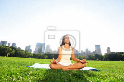 Femme méditant dans la méditation dans le parc de New York
