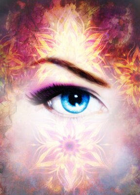 Image Femme, oeil, mandala, résumé, couleur, fond, désert, crépitement
