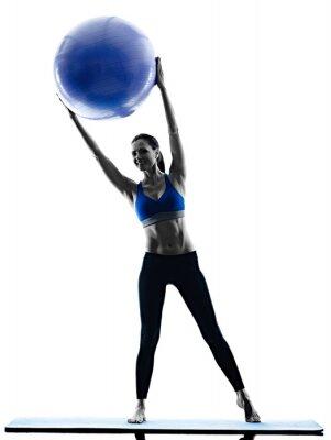 Image Femme, pilates, balle, exercices, aptitude, isolé