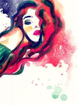 Image Femme, portrait, résumé, aquarelle .fashion, fond
