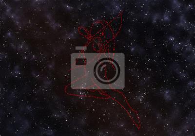 Femme Sagittaire dans le ciel nocturne parmi les étoiles de la galaxie