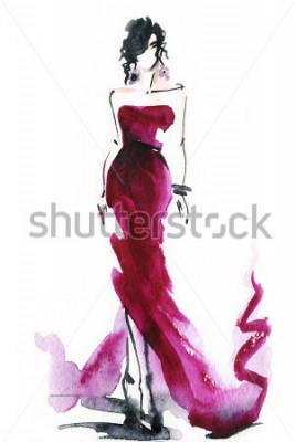 Image femmes avec une robe élégante .abstrait aquarelle .fashion fond