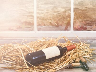 Image Fenêtre, lumière, vin, bouteille, reposer, paille