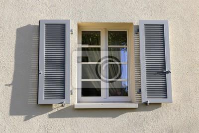 Fenêtres Avec Volets Pliants En Bois Extérieur Peintures Murales