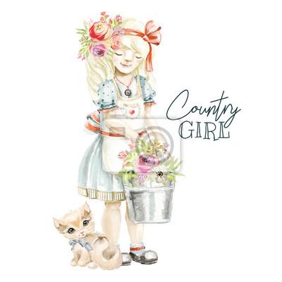 Ferme aquarelle mignonne, paysanne avec guirlande de fleurs des champs, bouquet floral, noeud attaché et un seau avec des fleurs et un chaton mignon