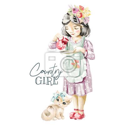 Ferme aquarelle mignonne, paysanne avec guirlande de fleurs des champs, bouquet floral versant du lait à la proue pour un chaton mignon avec une proue