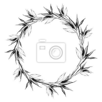 Image Feuilles Branches Tige Bambou Modèle Fleurs Texture Cadre Sans