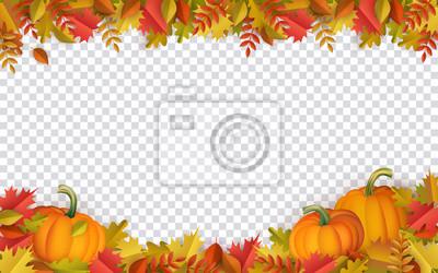 Image Feuilles d'automne et citrouilles frontière cadre avec texte de l'espace sur fond transparent. Feuilles d'oranger florales saisonnières d'érable chêne avec gourdes pour les vacances de Thanksgiving, c